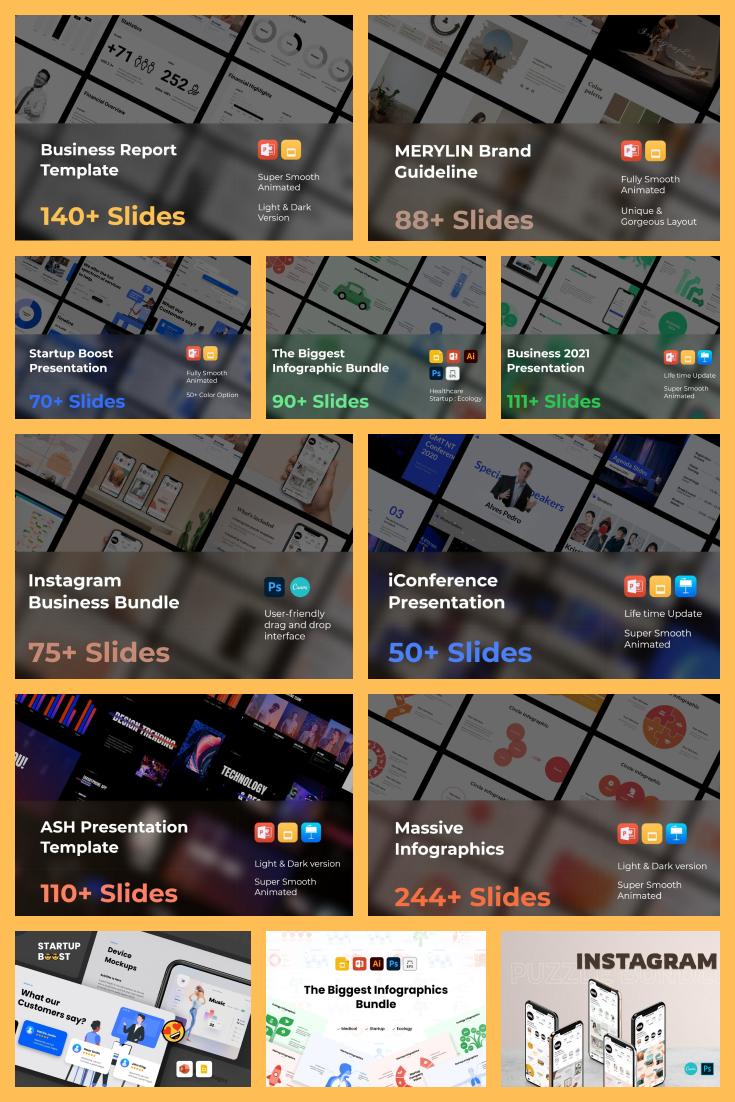 Business Presentation Bundle: 1500 Slides! - MasterBundles - Pinterest Collage Image.