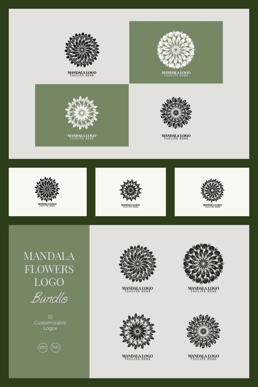 Mandala Flower Logo Bundle - MasterBundles - Pinterest Collage Image.