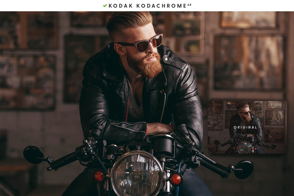 Hard biker style photo with a guy on a motorcycle.