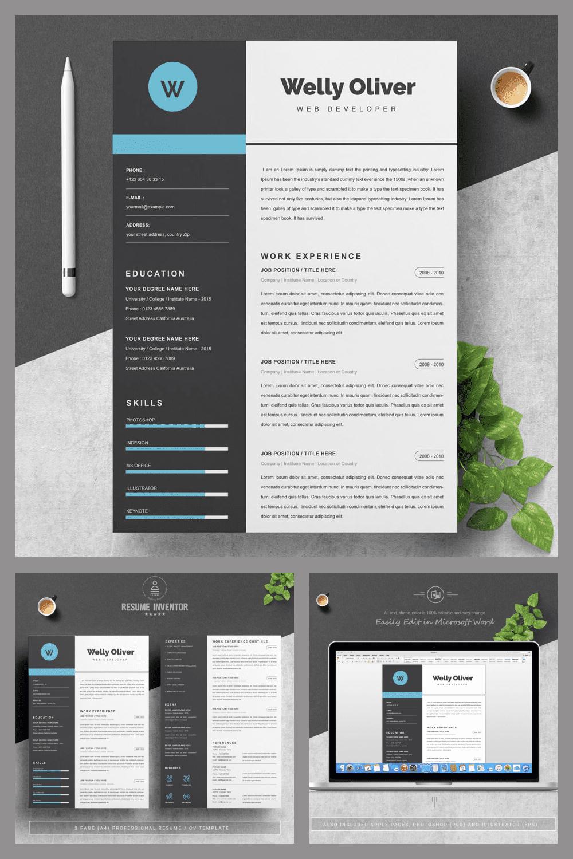 Resume Design Template - MasterBundles - Pinterest Collage Image.