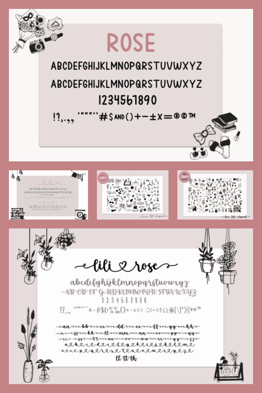 Lili Rose Elegant and Dainty Duo Font - MasterBundles - Pinterest Collage Image.
