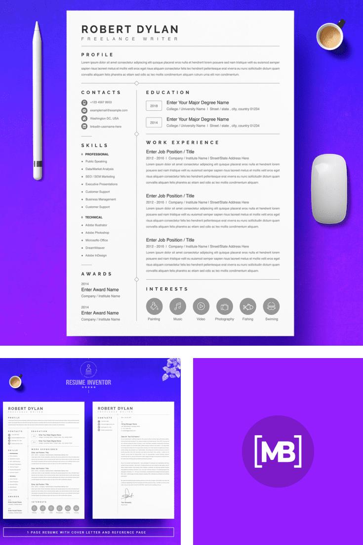 Freelance Graphic Designer Resume Template - MasterBundles - Pinterest Collage Image.
