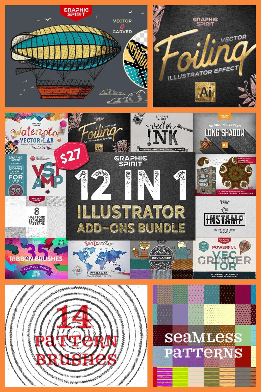 12 in 1 Adobe Illustrator Add-ons Bundle - just $27 - MasterBundles - Pinterest Collage Image.