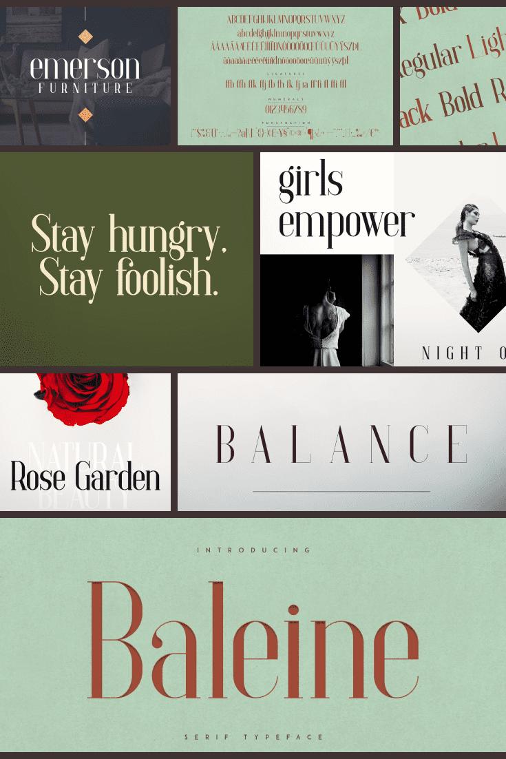 Baleine - Slab Serif Font   4 weights - MasterBundles - Pinterest Collage Image.