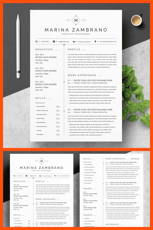 CV Template Design - MasterBundles - Pinterest Collage Image.