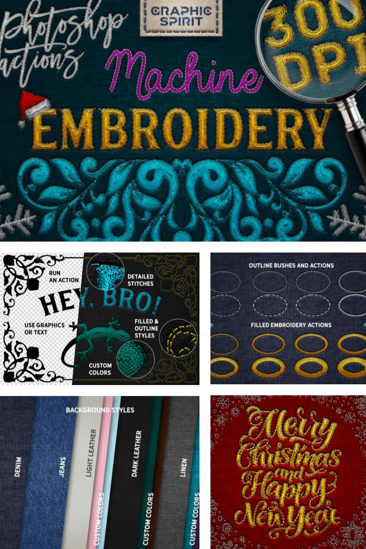 Machine Embroidery Photoshop Actions - $14 - MasterBundles - Pinterest Collage Image.