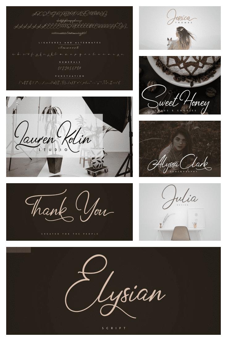 Elysian Tattoo Script Font - MasterBundles - Pinterest Collage Image.