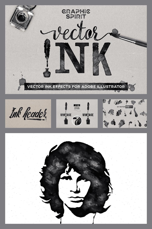 VECTOR Ink Effects For Adobe Illustrator - just $9 - MasterBundles - Pinterest Collage Image.