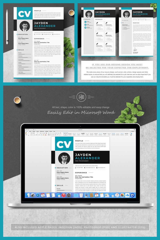 Web Programmer Resume Design Template - MasterBundles - Pinterest Collage Image.