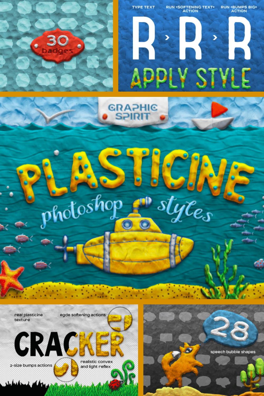 Plasticine Photoshop Toolkit: plasticine effect photoshop - MasterBundles - Pinterest Collage Image.