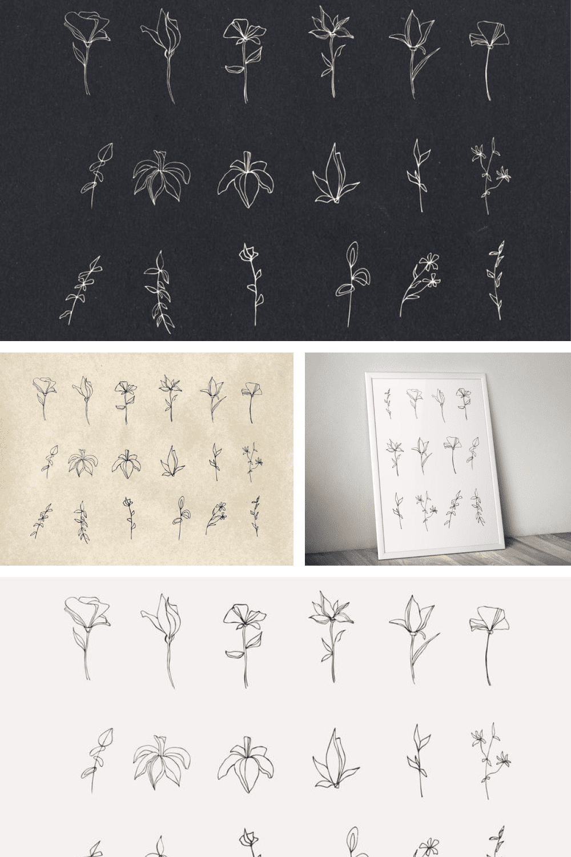 18 Flower Clipart Black and White - MasterBundles - Pinterest Collage Image.