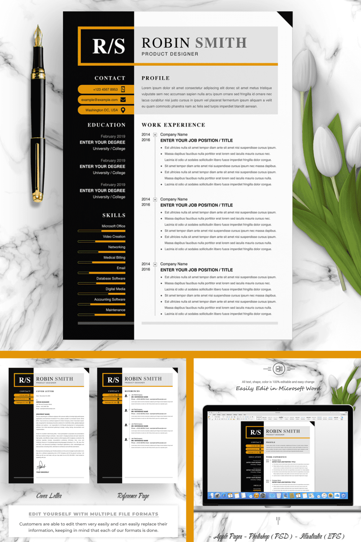 Product Designer Resume Template - MasterBundles - Pinterest Collage Image.