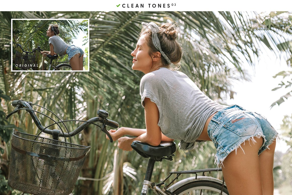 A girl rides a bicycle in Bali.