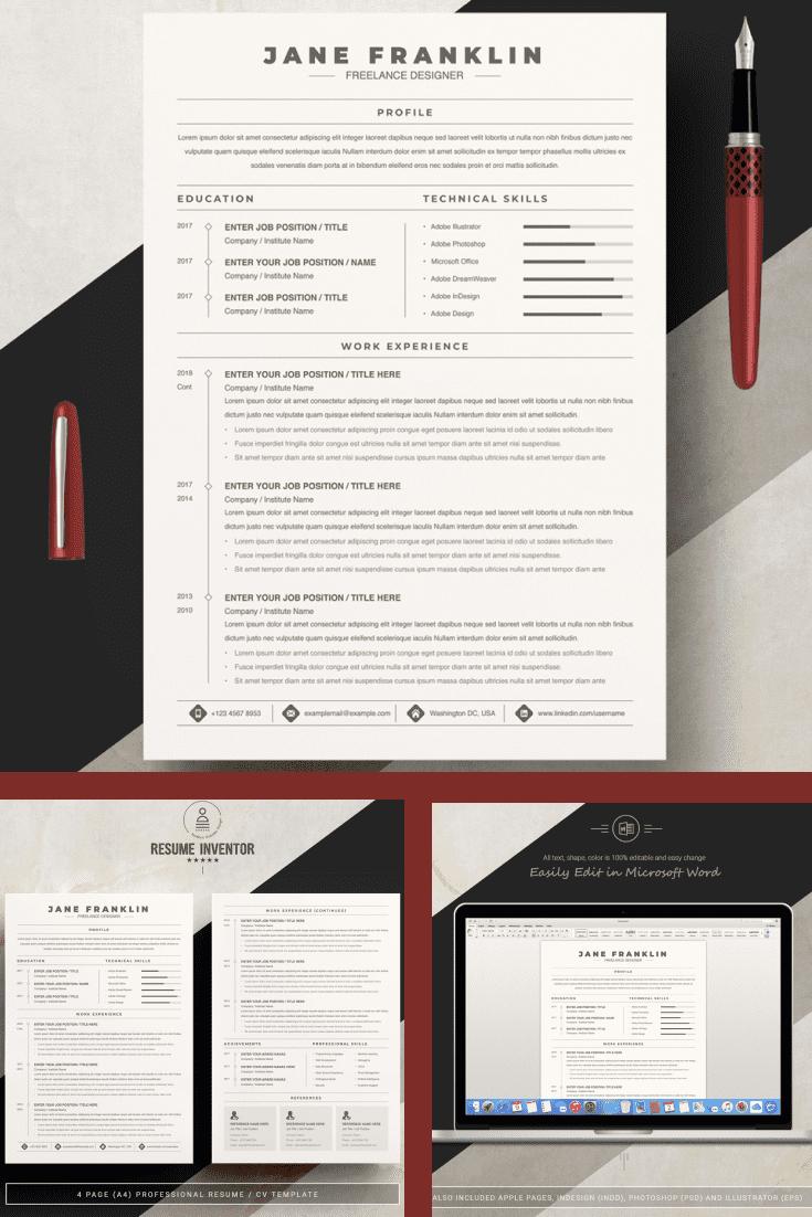 Experienced Freelance Editor Resume Template - MasterBundles - Pinterest Collage Image.
