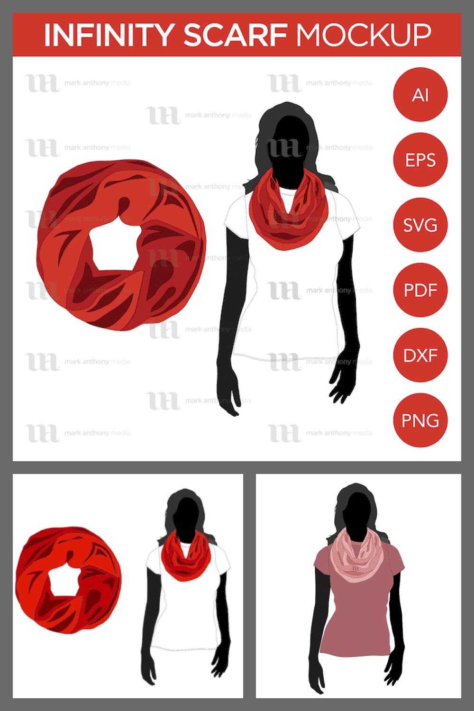 Infinity Scarf - Vector Template Mockup - MasterBundles - Pinterest Collage Image.