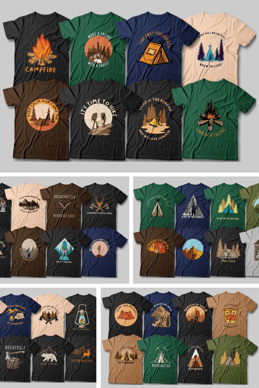 110 Camping T-shirt Designs Bundle - MasterBundles - Pinterest Collage Image.