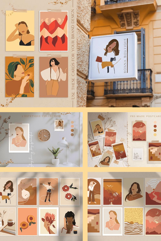 L'esthetique Modern Postcard Set - MasterBundles - Pinterest Collage Image.