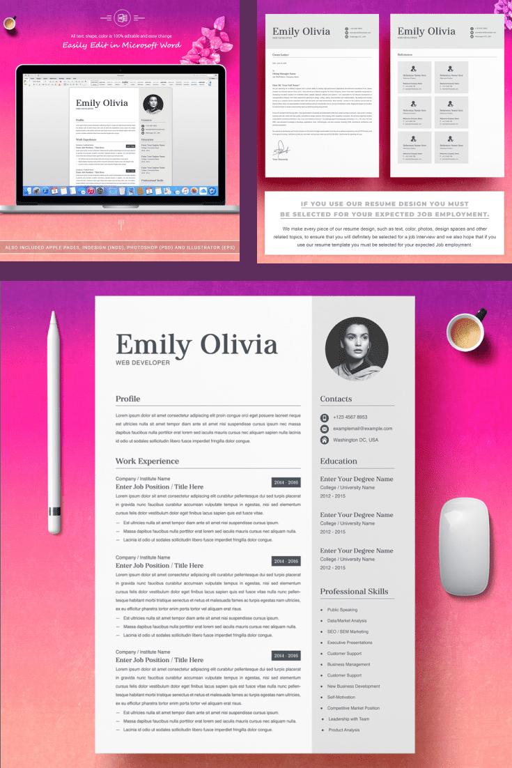 Web Developer Resume Sample - MasterBundles - Pinterest Collage Image.