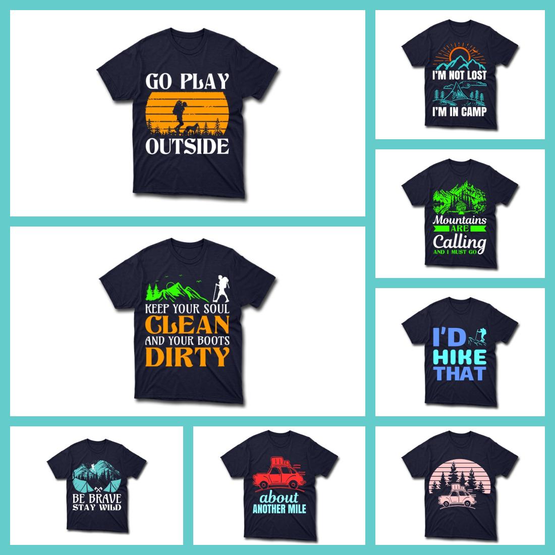 2 40 Editable Hiking T shirt Bundle Designs