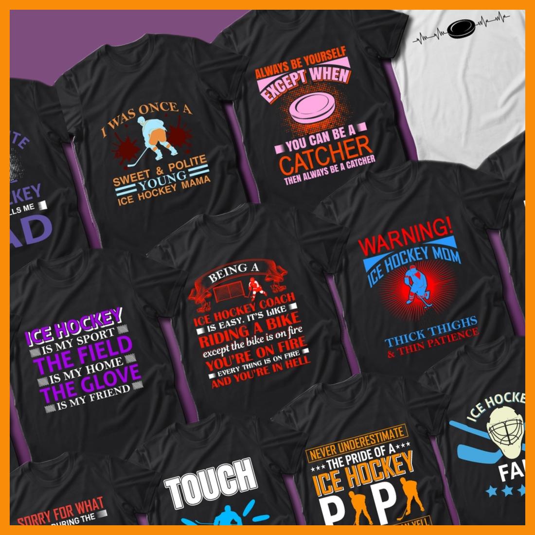 2 40 Ice Hockey Quotes T Shirt Designs Bundle