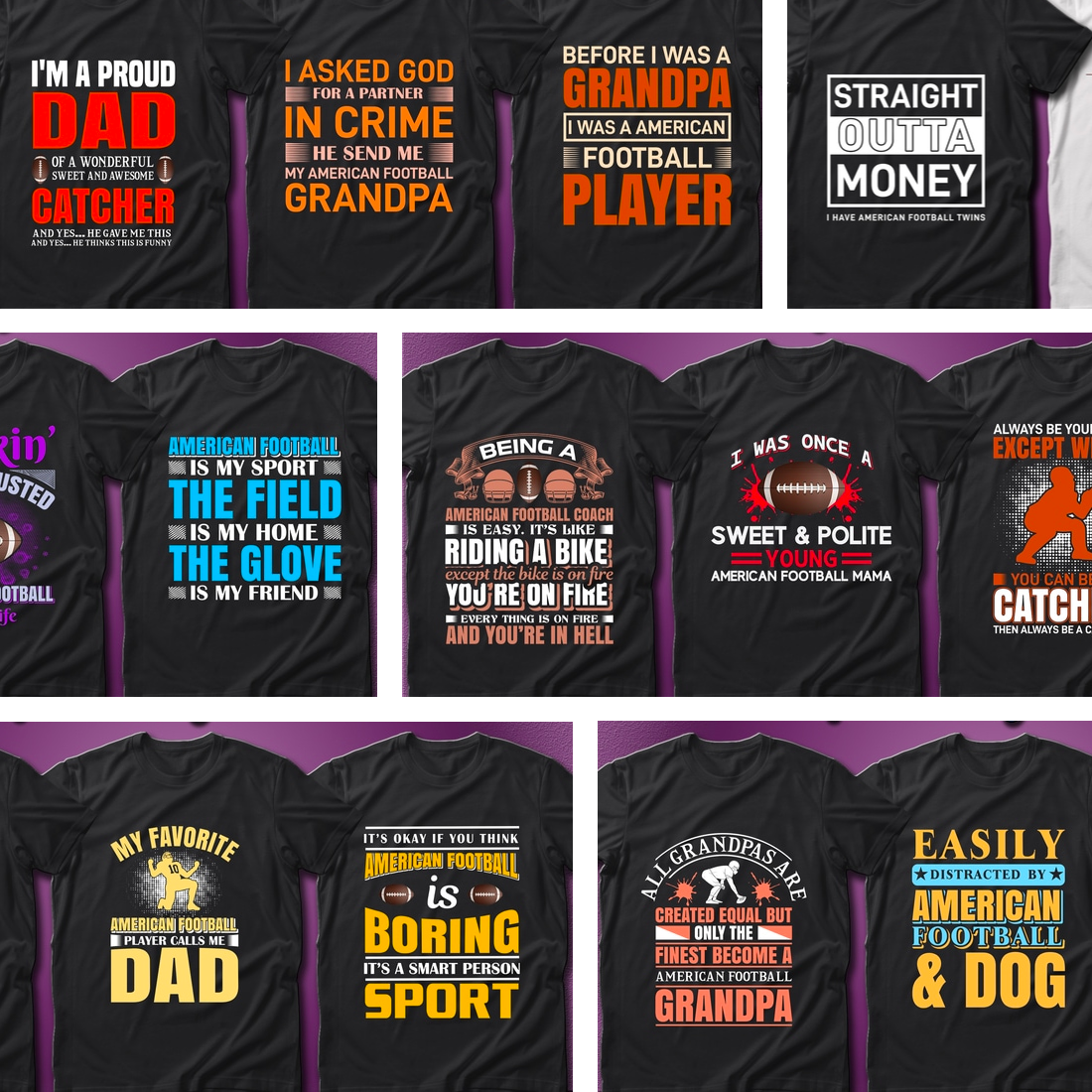 2 41 American Football Quotes T Shirt Designs Bundle