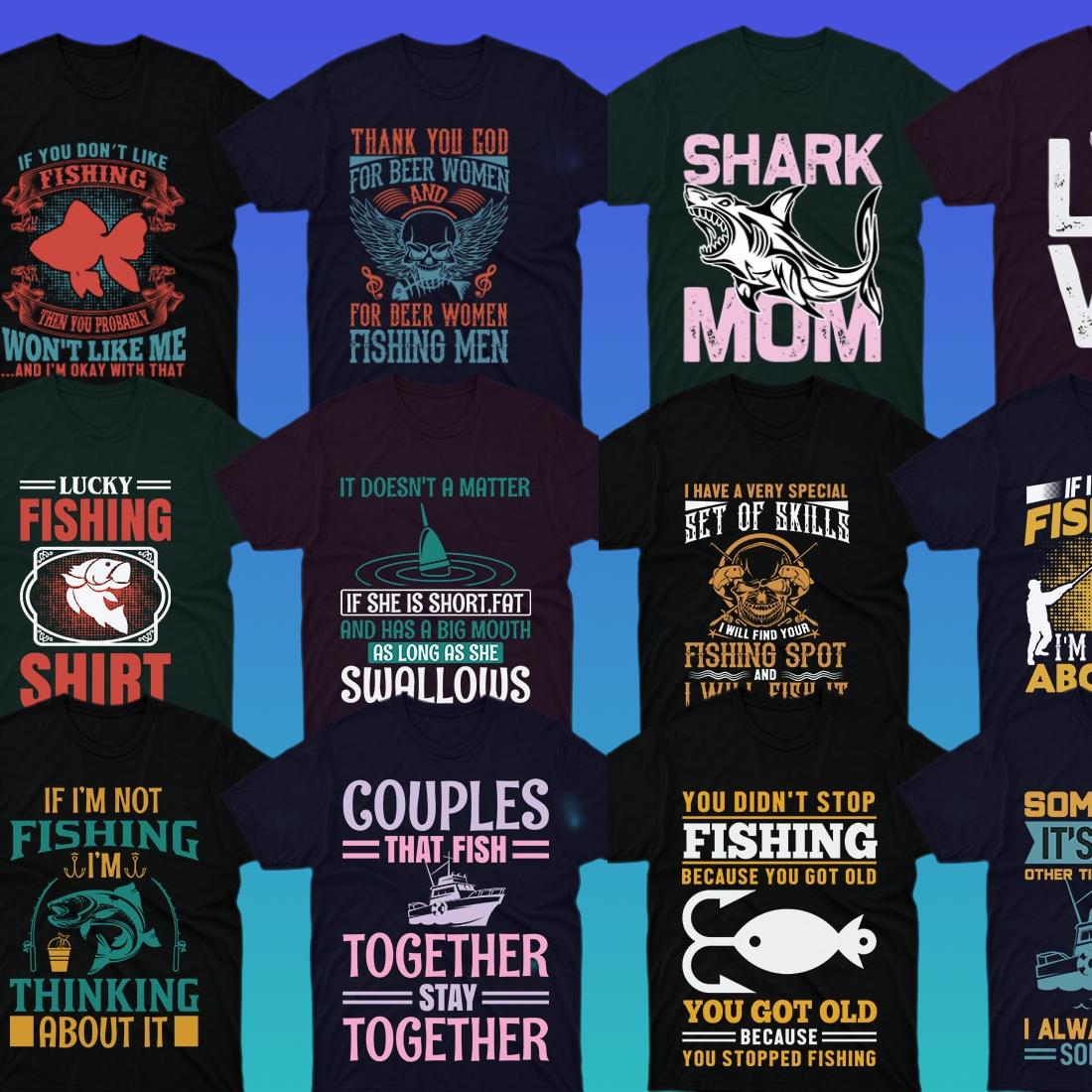 preview of 50 Editable Fishing T Shirt Designs Bundle.