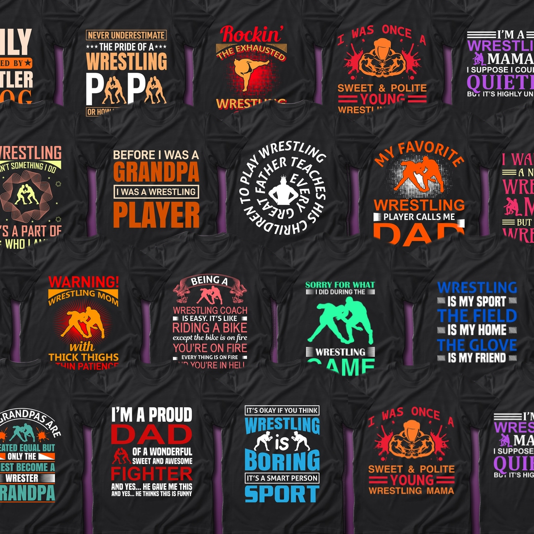 2 Best Selling 30 Wrestling Sport T Shirt Designs Bundle