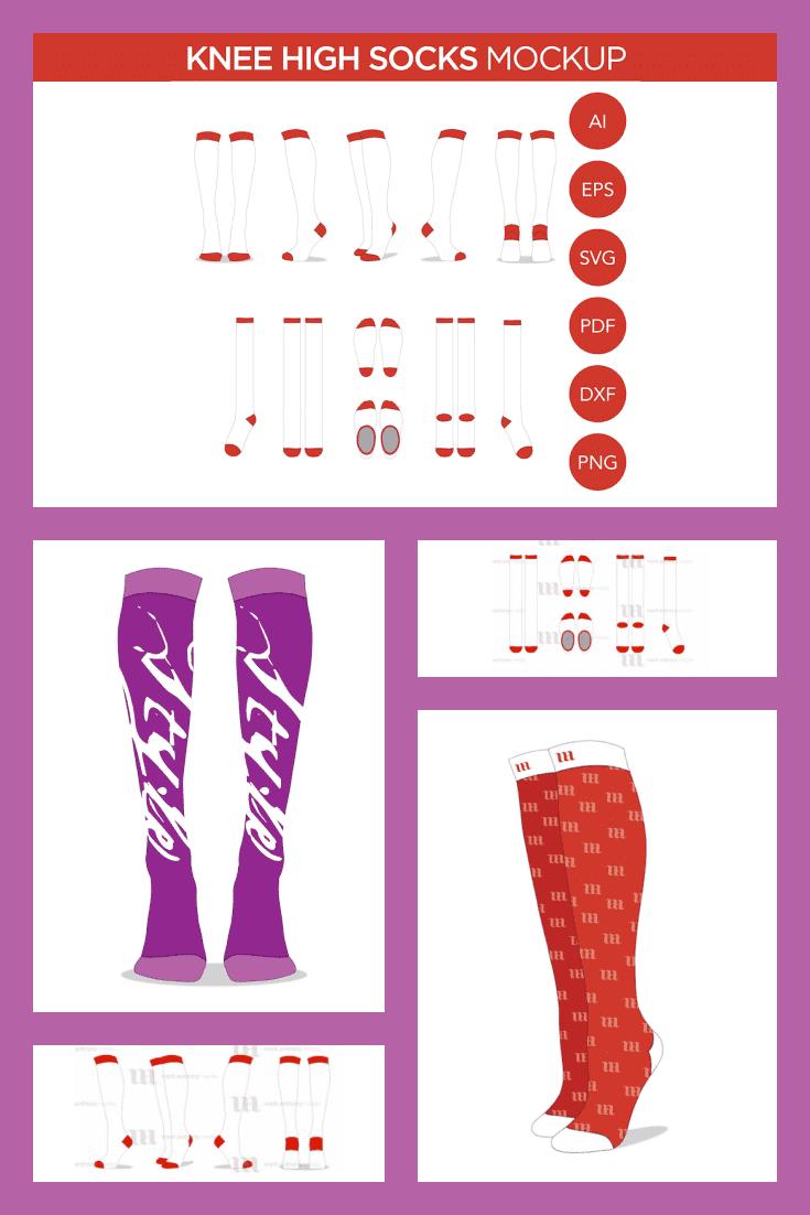 Knee High Socks Mockup Template - MasterBundles - Pinterest Collage Image.
