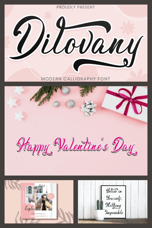 Modern Calligraphy Font Dilovany - MasterBundles - Pinterest Collage Image.