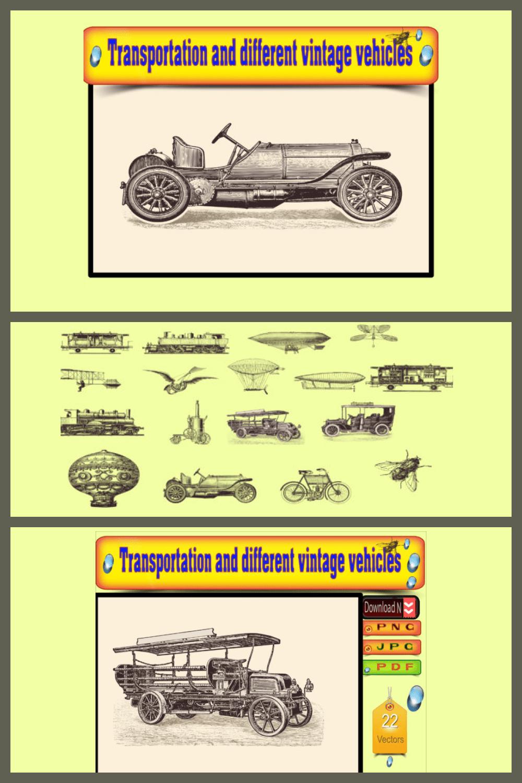 22 Engraving Illustrations: Transportation & Vintage Vehicles Vectors - MasterBundles - Pinterest Collage Image.