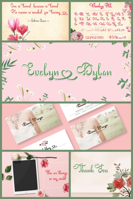Lovely Font Vinolya - MasterBundles - Pinterest Collage Image.
