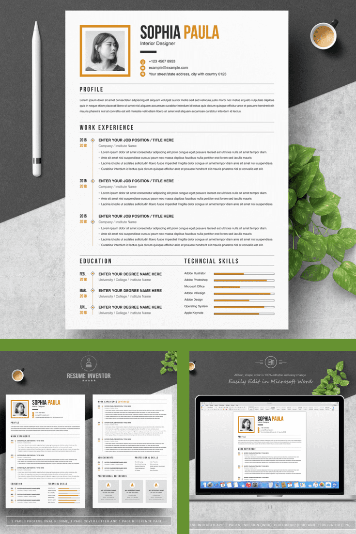 Simple Resume Template - MasterBundles - Pinterest Collage Image.