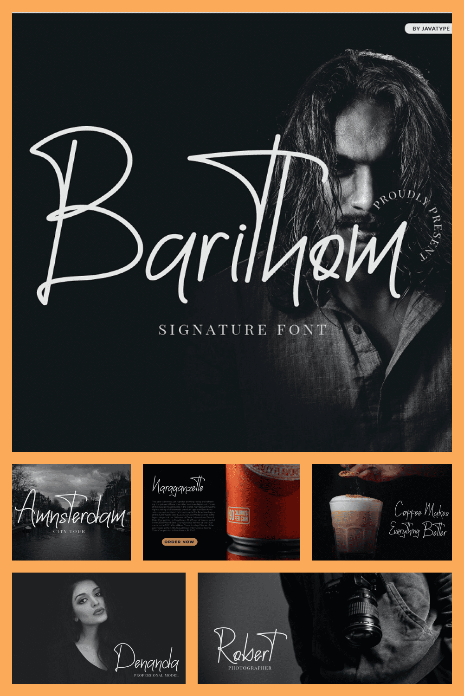 Barithom - Signature Monoline Font - MasterBundles - Pinterest Collage Image.