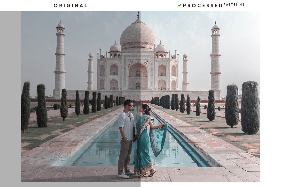 A loving couple on the background of the Taj Mahal.
