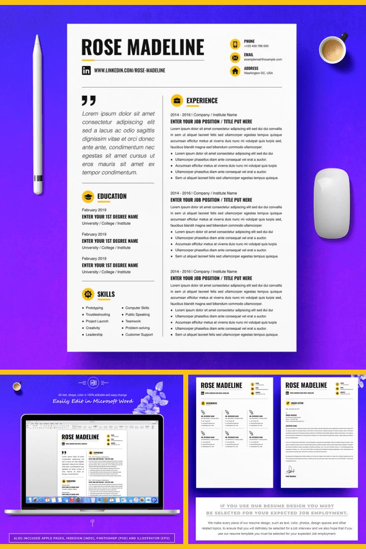 Basic CV Template - MasterBundles - Pinterest Collage Image.