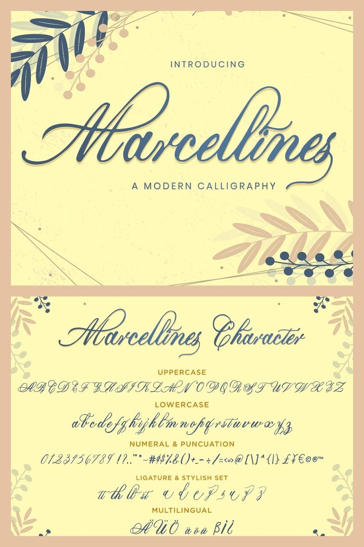 Marcellines Modern Calligraphy Font - MasterBundles - Pinterest Collage Image.