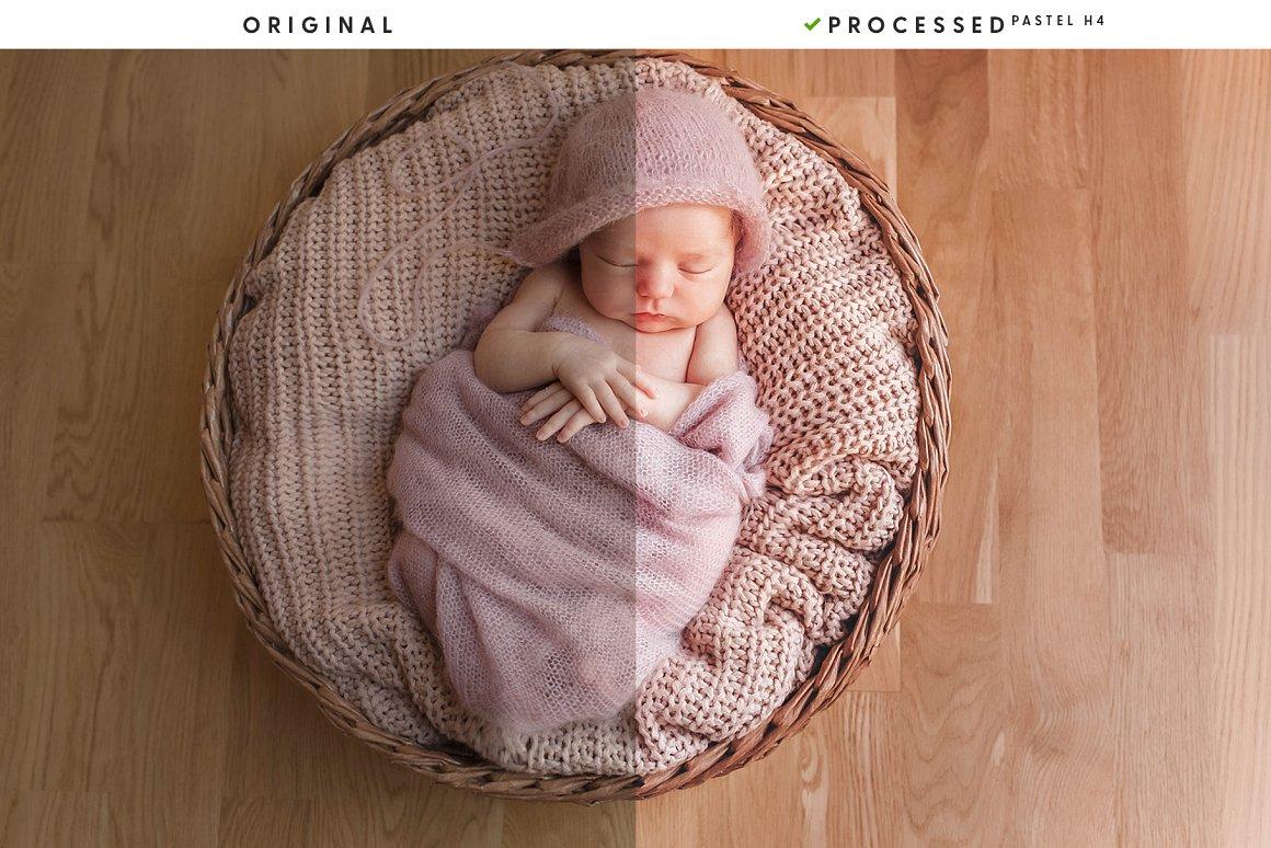 Newborn baby in a soft pink blanket.
