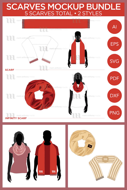 Scarves Bundle - Vector Template Mockup - MasterBundles - Pinterest Collage Image.