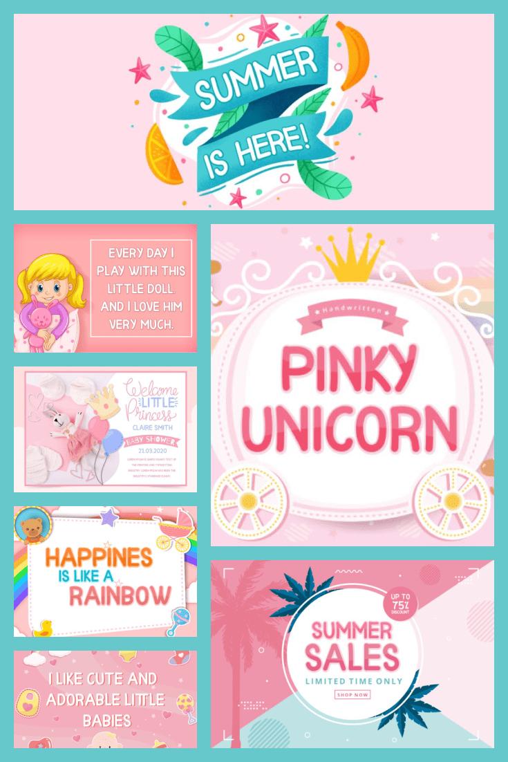 Pinky Unicorn Calligraphy Font - MasterBundles - Pinterest Collage Image.