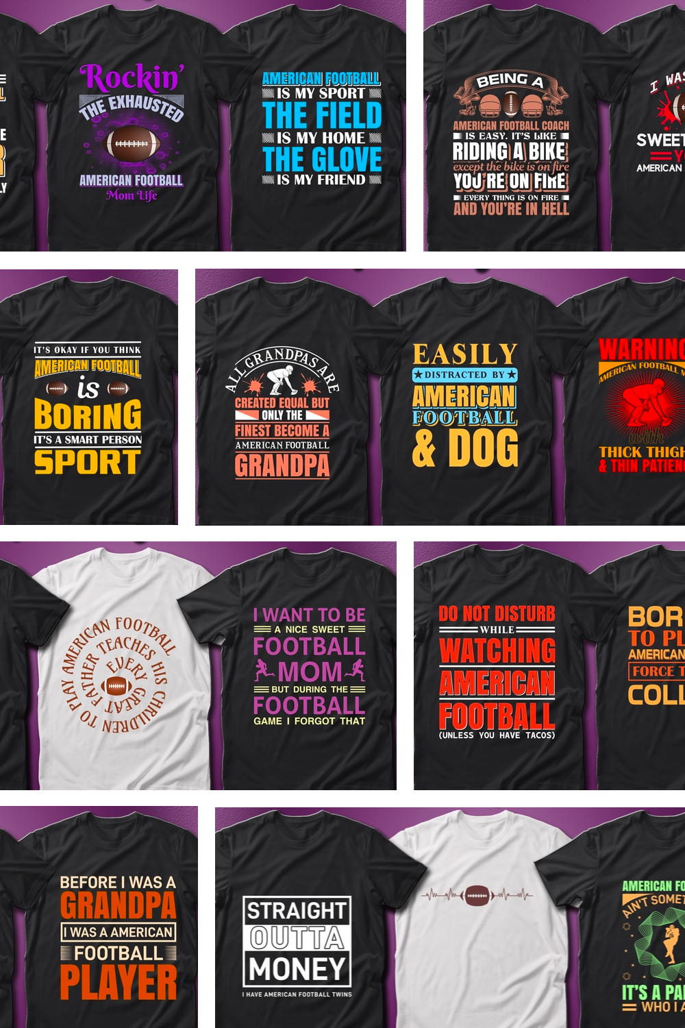 41 American Football Quotes T-Shirt Designs Bundle for pinterest.