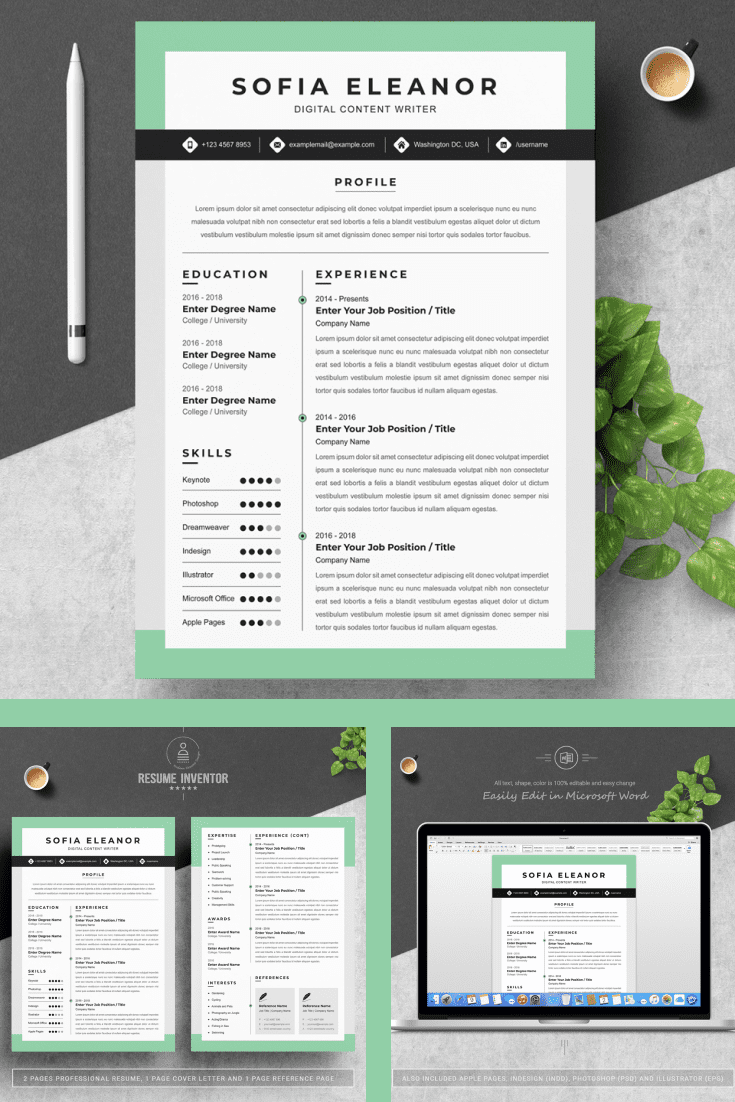 Creative Content Writer Resume Template - MasterBundles - Pinterest Collage Image.