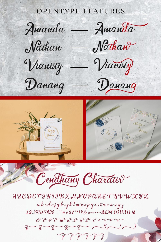 Hand Lettered Font Cendhany - MasterBundles - Pinterest Collage Image.