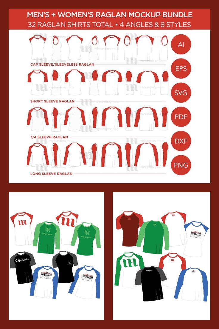 Raglan Men's + Women's Shirt Bundle - MasterBundles - Pinterest Collage Image.