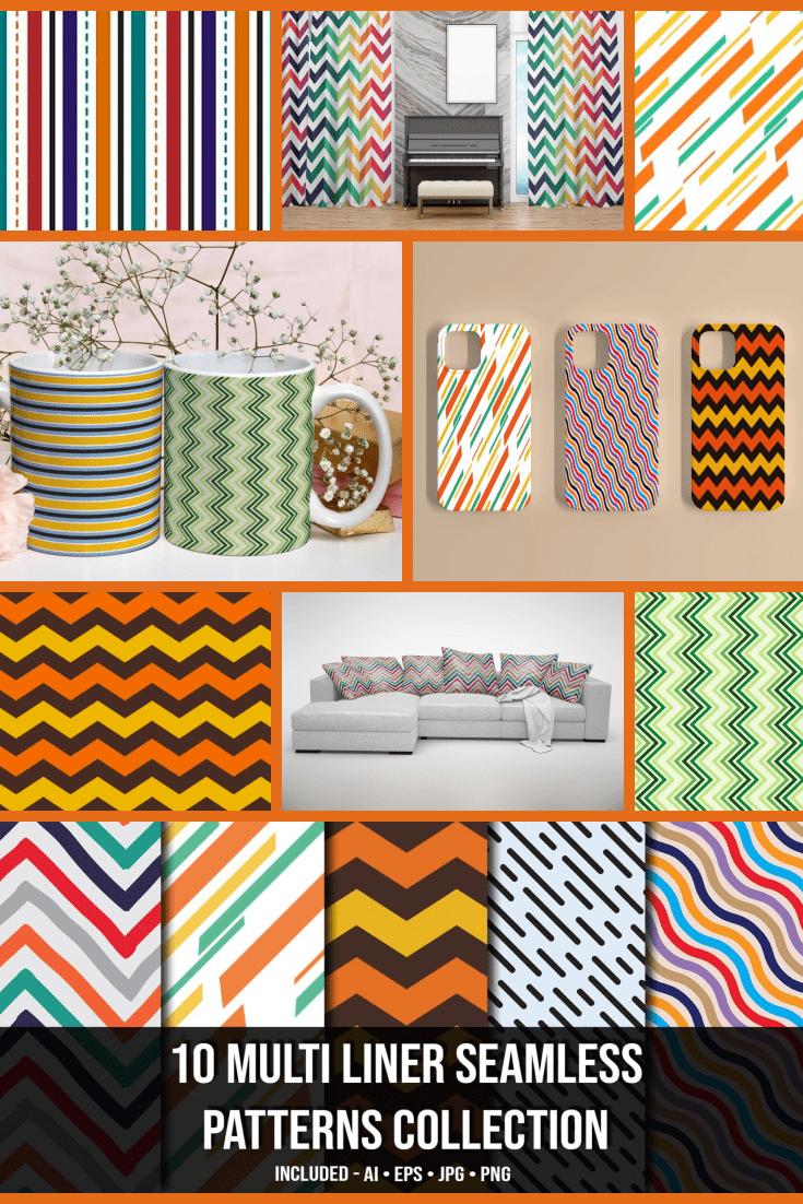 10+ Multi Liner Seamless Patterns Collection - MasterBundles - Pinterest Collage Image.