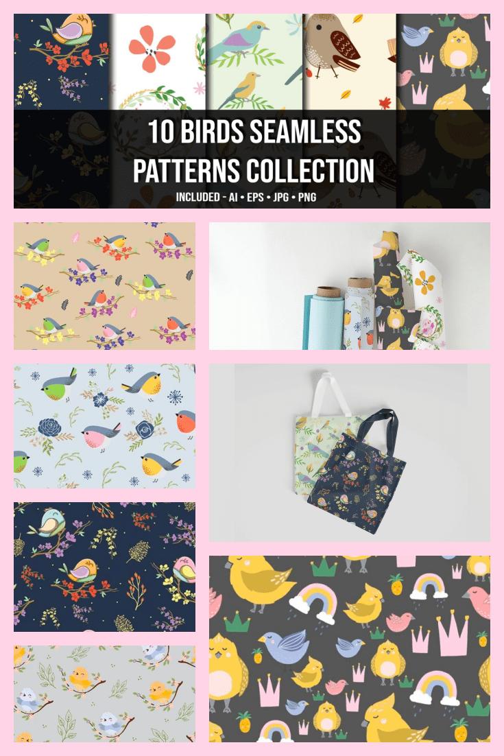 10+ Birds Seamless Patterns Collection - MasterBundles - Pinterest Collage Image.