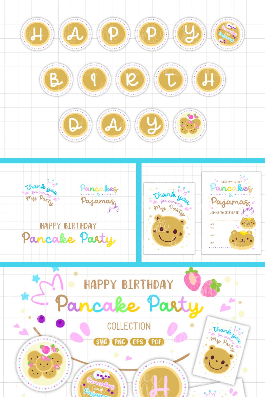 Pancake Designs Party Collection Bundle, Birthday Party Printables - MasterBundles - Pinterest Collage Image.