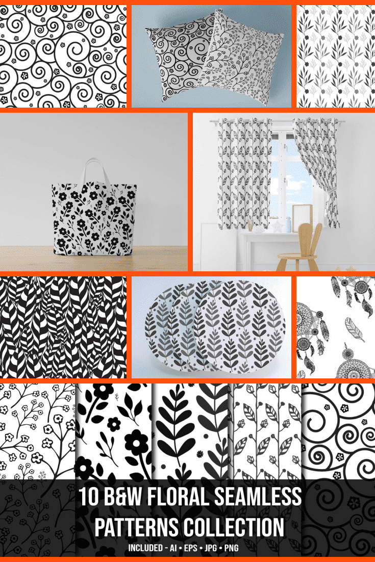 10+ Black & White Floral Seamless Patterns Collection - MasterBundles - Pinterest Collage Image.