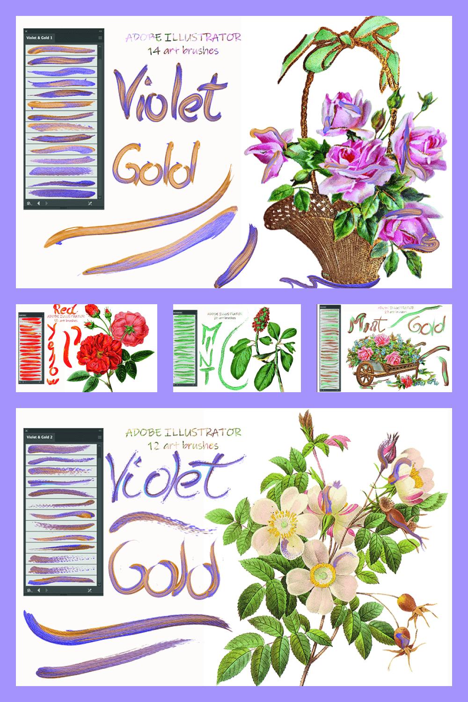 257 Art Brushes for Adobe Illustrator - MasterBundles - Pinterest Collage Image.