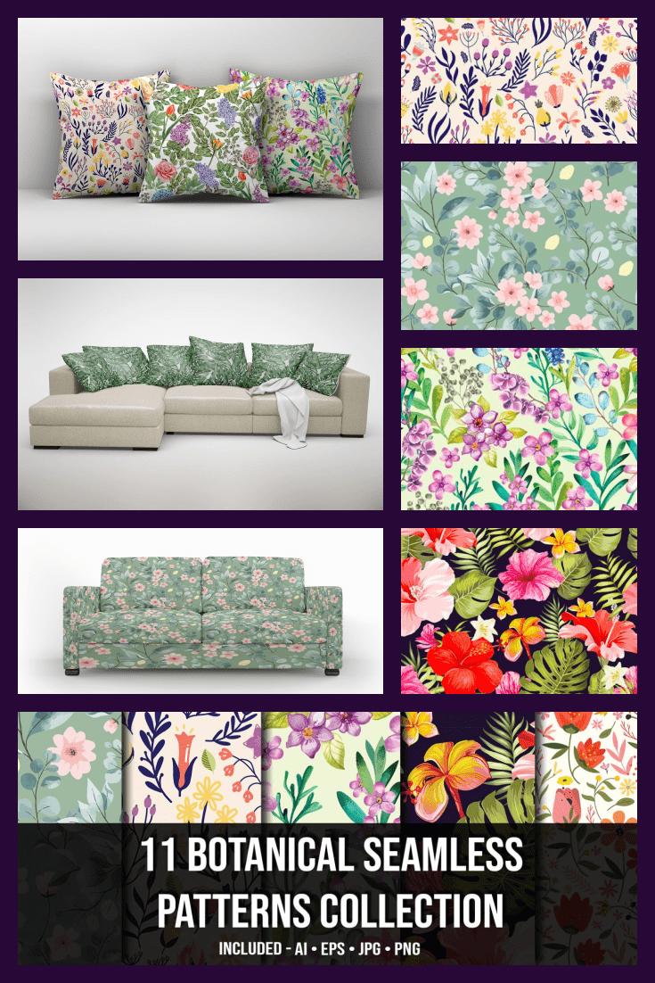 11+ Botanical Seamless Pattern Collection - MasterBundles - Pinterest Collage Image.
