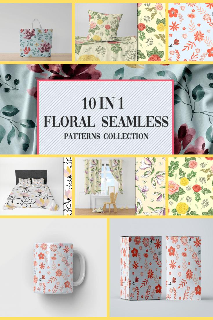 10+ Floral Seamless Patterns Collection - MasterBundles - Pinterest Collage Image.